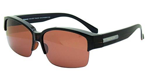 iZONE アイゾーン 偏光サングラス メガネの上から オーバーグラス IDRIVE P444-DR2 運転 釣り ゴルフ (ブラウン-ブラウン)