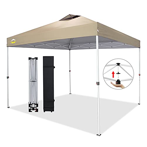 CROWN SHADES 10x10 Pop up Canopy Outside Canopy, Patented One Push Tent Canopy with Wheeled Carry...