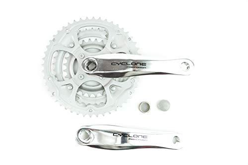 Fahrrad Kettenrad Kurbel Garnitur Cyclone 3 Fach 28-48 Zähne Kurbelarm 170mm Silber B-Ware