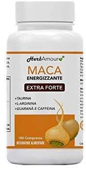 Herbamour Maca | 180 Capsulas Por 6 Meses De Alta Dosis En E.S. + L-Arginina + Vitamina B6 + Zinc + Taurina + Guaraná + Maca Peruana Con Extracto De Maca Andina | Proporción 10:1 | Calidad Italiana