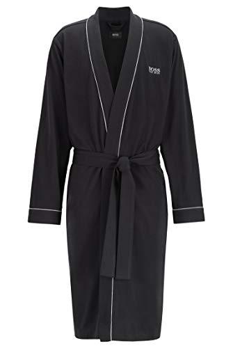 BOSS Herren Kimono BM Morgenmantel aus Baumwolle mit kontrastfarbenen Paspeln