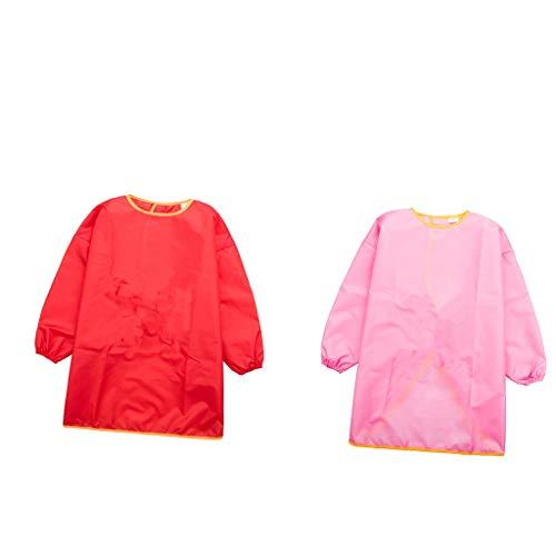 FLAMEER 2Pcs Kids Art Kittel, Kinder Wasserdichte Künstler Malerei Schürzen Langarm Kinder Kittel, Kinder Spielen Essen Zeichnen Schürzen, Rot & Pink
