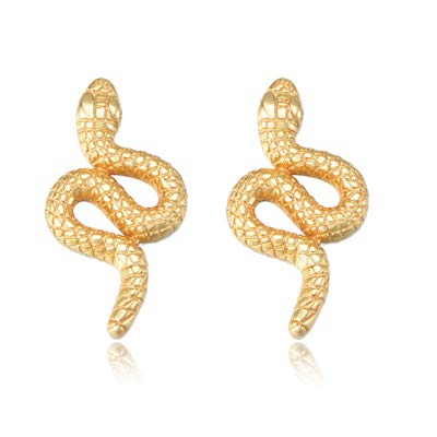 MINOIC Pendientes Mujer Plata, Pendientes Serpiente, Plata de Ley 925 Bañada en Oro de 18k, Pendientes dorados, Pendientes Mujer Oro
