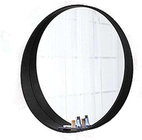 Espejos espejo brillante madera sólido espejo redondo estilo japonés creatividad maquillaje espejo niña escritorio belleza espejo de pared montado en la pared con almacenamiento de espejo decorat