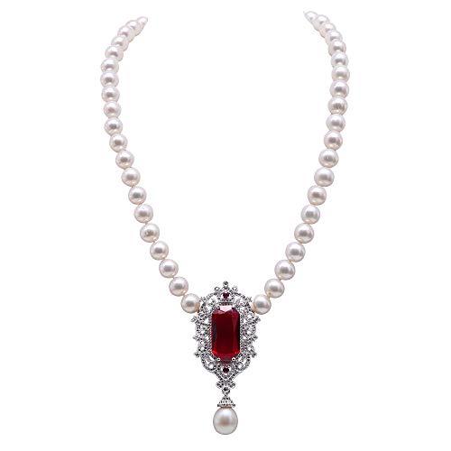 JYX - Collar de Perlas cultivadas en Agua Dulce de 8,5 a 9 mm con Colgante de Piedra roja para Mujer, 48 cm de Largo