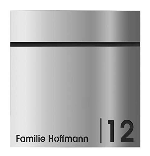 Frabox® Edelstahl Design Briefkasten LEVARA mit Zeitungsfach Hausnummer und Namen
