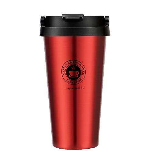 Kakusiga Edelstahl Kaffeebecher Thermobecher Doppelwandig vakuumisolierter Travel Mug BPA Frei Isolierbecher 500ml Coffee to go Autobecher Trinkbecher für unterwegs, Leicht & Auslaufsicher