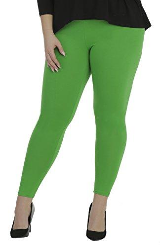 BeLady Damen Leggings Knöchellang aus Baumwolle Blickdichte Leggins Viele Farben (Grün, 7XL - 54)