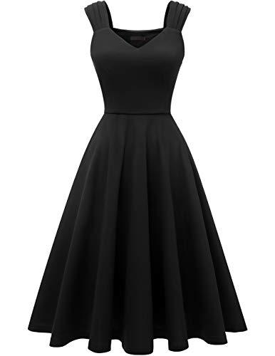DRESSTELLS Damen 1950er Midi Rockabilly Kleid Vintage V-Ausschnitt Hochzeit Cocktailkleid Faltenrock Black XL