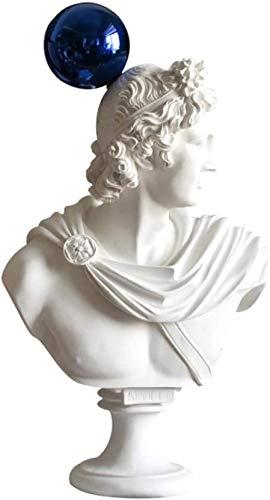 Estatuas de escultura de la mitología griega Apolo Busto Figura Estatua Azul Bola Arte Escultura de resina Artesanía Accesorios Decoración del hogar Escritorio Regalos