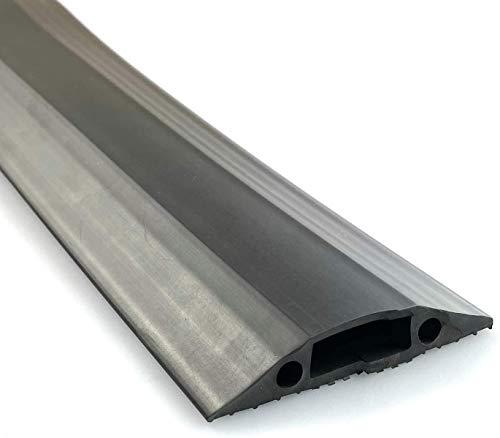 On1shelf® Mittelstarker Bodenschutz, schützt vor Stolperfallen | Kabelhohlraum 16 mm (B) x 8 mm (H) | Schwarz (3 m)