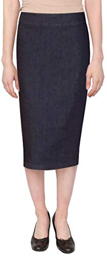 Baby'O Women's Below The Knee Stretch Denim Pencil Skirt (18 Blue)