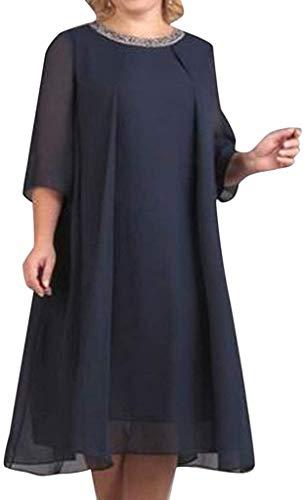 POINWER Übergröße Minikleid Damen Chiffon Tunika Tshirt Kleid Kurzarm MiniKleid Sommerkleid for Damen Brautkleid Halber Ärmel Rundhals Partykleid (Farbe : Marine, Größe : XXL)
