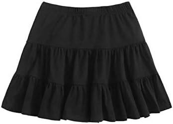 SheIn Women s Casual Summer Elastic Waist Solid Ruffle Hem Short Mini Skirt Black X Large product image