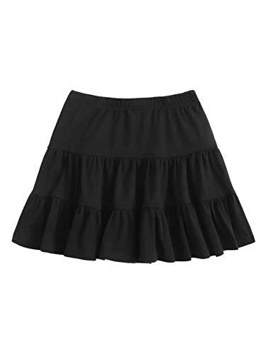 SheIn Women's Casual Summer Elastic Waist Solid Ruffle Hem Short Mini Skirt Black X-Large