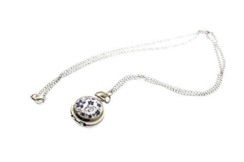 Olive-G おしゃれな 懐中時計 ペンダント ネックレス ミラー付き ハイビスカス WHITE