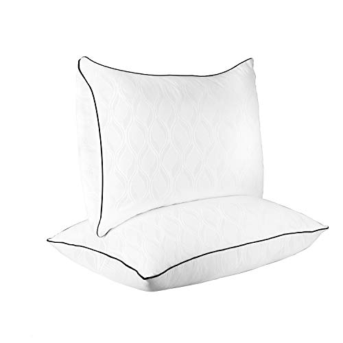 SUGARYDREAM Bed Pillows for Sleeping 2 Pack, Sleeping Pillows for Side and Back Sleeper Hotel Pillows Down Alternative Pillow with Super Soft Plush Fiber Fill,Queen Size,18.1x28.5in