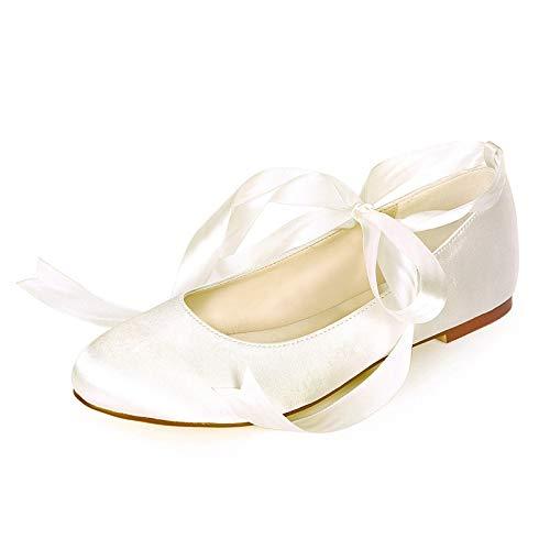 QXue Damen Hochzeitsschuhe Brauts Ballerina Rundkopf Flach Tanzschuhe Party Bridal 35-44,Elfenbein,40 EU