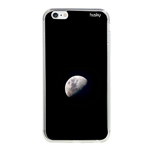 Capa Personalizada Lua Centro, Husky para iPhone 6 / 6S, Capa Protetora para Celular, Preto/Branco