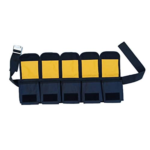 F Fityle Cinturón de Pesas para Buceo Esnórquel Acolchado de Respaldo para Protección de Caderas Accesorios de Buzos - Amarillo y Negro, 5 Bolsillos