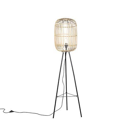 QAZQA Landhaus/Vintage/Rustikal/Landhaus/Vintage Ländliche Stehlampe Rattan - Manila/Innenbeleuchtung/Wohnzimmerlampe/Schlafzimmer/Stahl Länglich/Rund LED geeignet E27 Max. 1 x 60 Watt