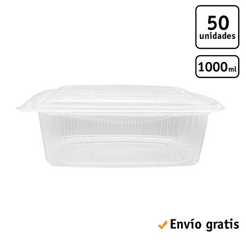 TELEVASO - 50 uds - Envase/Recipiente para Comida con Tapa bisagra Oval - Capacidad 1000 ml - Polipropileno (PP) traslúcido - Contenedores Desechables con Tapa, Apto para microondas