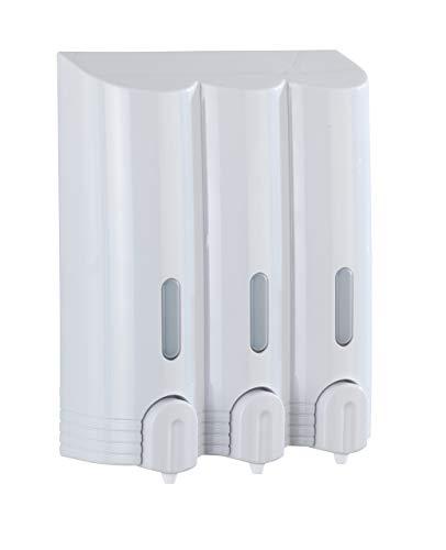 Wenko 22127100 3 Kammer Seifenspender Mura, Shampoo Spender Fassungsvermögen: 0,4 l, Kunststoff, 19,5 x 24 x 8 cm, weiß
