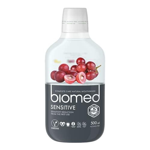 BIOMED Sensitive regenerierende und antibakterielle Mundspülung für empfindliche Zähne - fluoridfreies und 98% natürliches Mundwasser in einer 500ml Packung
