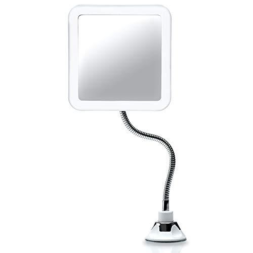 Fancii Specchio Ingranditore Flessibile 10x con Luce LED e Ventosa Potente - Specchio da Trucco Illuminato con Collo di Cigno - Specchio Cosmetico da Bagno (Mira +)
