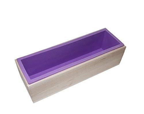 Alytime rechteckige Silikon-Form mit Holzkasten für das Herstellen von Seife, für 1,2kgSeifenmasse violett