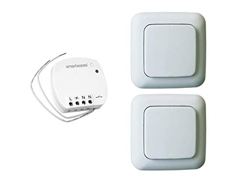 Funk Schalter Set = Mini-Funk-Einbauschalter + 2 x Funk-Wandschalter, für Leuchten und Geräte bis max. 400W