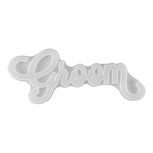 EXCEART Groom Epoxy Crystal Mold Letters Doorplate Silicone Mold House Sign Plaque Resin Casting Mould DIY Door Wall Hanging Tag Sign Plates for Home Wedding Hanging Ornament DIY Craft Decor