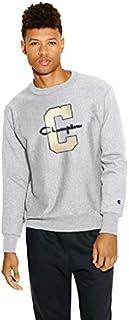 قميص رياضي رجالي من Champion LIFE بنسيج ريفيرس بلون رمادي أكسفورد / شعار c، مقاس صغير