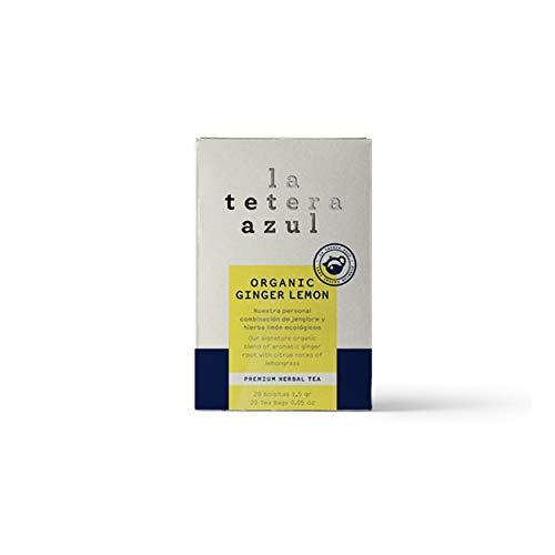 LA TETERA AZUL Infusión Ecológica De Jengibre Y Hierba Limón. Té Adelgazante Orgánico. Organic Ginger Lemon. 20 Bolsitas De 1,5 Gramos.