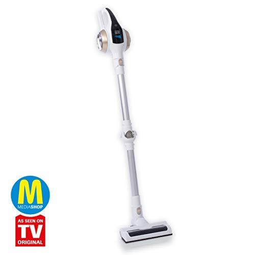 MediaShop Livington Prime Ultimate 3-in-1 Akku Staubsauger – kabelloser Staubsauger mit Knickgelenk für schwer erreichbare Stellen – leichter Staubsauger ohne Beutel