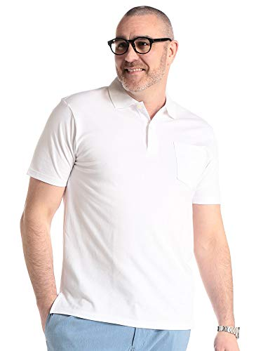 [サカゼン] ポロシャツ 大きいサイズ メンズ 吸汗速乾 無地 半袖 トップス クールビズ 胸ポケット 鹿の子 LL 3L 4L 5L 6L 7L 8L 9L 10L B&T CLUB(ビーアンドティークラブ) X1(3L~4L) ホワイト