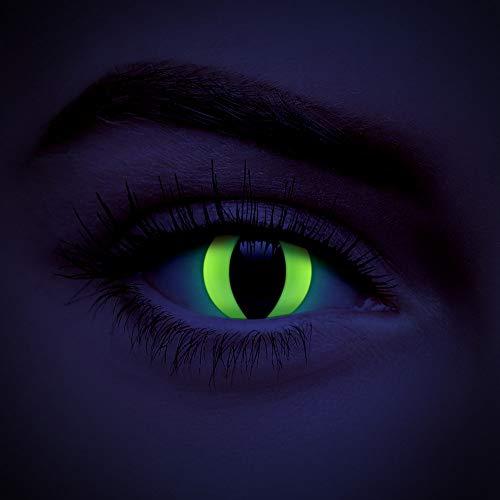 chromaview Katzen UV I-Glow Farbige Kontaktlinsen Ohne Stärke Gelb (Tageslinsen)