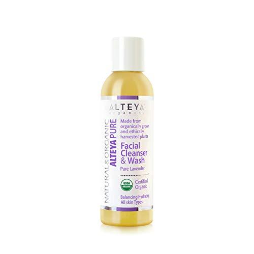 Alteya Organic jabón líquido limpiador facial y lavado 150ml – lavanda pura – con certificado orgánico USDA, jabón biodegradable - producto natural puro– hidrata y balancea todo tipo de piel