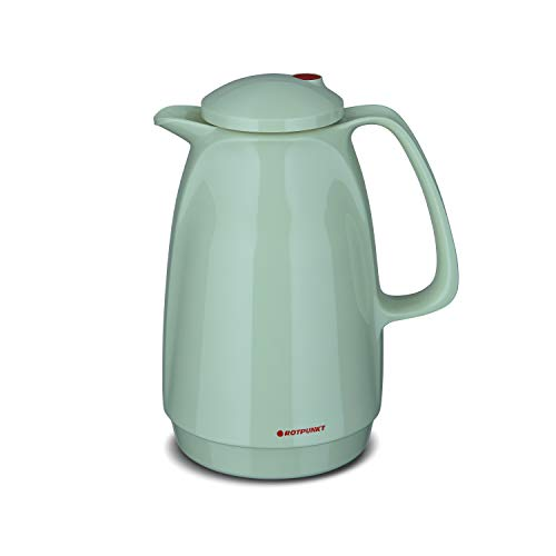 ROTPUNKT Isolierkanne 220 Bella 1,0 l | Zweifunktions-Drehverschluss | BPA-frei - gesundes Trinken | Made in Germany | Warm + Kalthaltung | Glaseinsatz | Pistacchio Cream