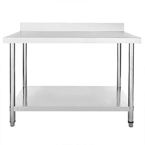 Mesa de Trabajo de Acero Inoxidable para Catering Comercial Restaurante Bar Cocina Lavandería Garaje, 120 x 60 x 85 (+10) cm Resistente