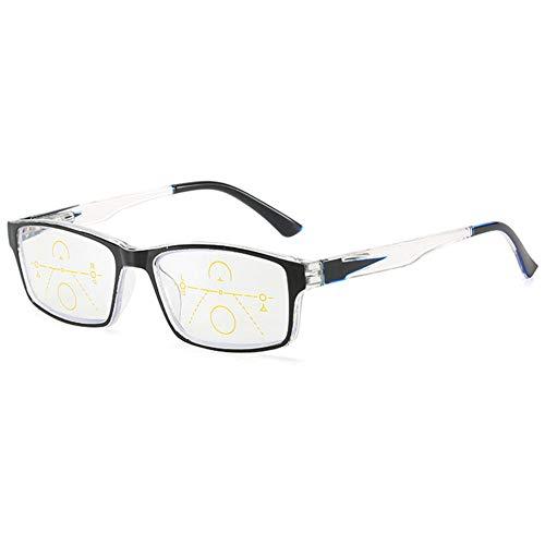 KOOSUFA Gleitsichtbrille Progressive Multifokus Lesebrille Damen Herren Anti-Blaulicht Sehhilfe Federscharnier Retro Lesehilfe Anti Müdigkeit Brille 1,0 1,5 2,0 2,5 3,0 3,5 4,0 (1x Schwarz, 2.0)