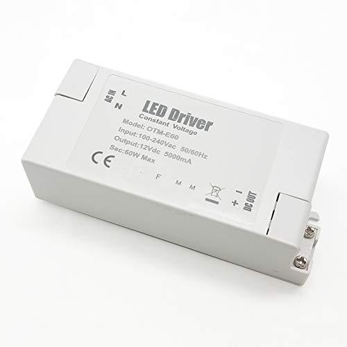 Adaptador LED VARICART IP44 12V 5A 60W, Fuente de Alimentación Conmutada Regulación Universal AC DC, Transformador Constante Voltaje Cámara CCTV Tira de Luz G4 MR11 MR16 GU5.3 Bombilla (Pack de 1)