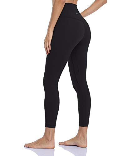 HeyNuts Hawthorn Athletic Essential II High Waisted Yoga Leggings for Women, Buttery Soft Workout Pants Compression 7 8 Leggings with Inner Pockets Black_25   M(8 10)