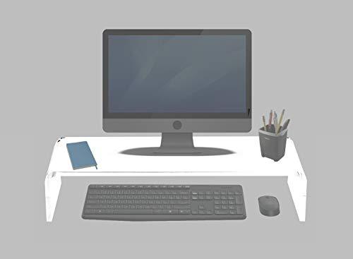Soporte de Monitor, Pantalla de TV, Portátil - 55x23cm - Elevación de 12cm - Metacrilato Blanco Opal - Resistente hasta 40 kg