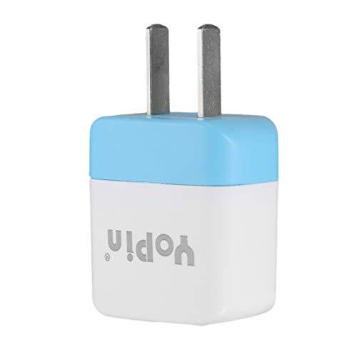 Mejor Precio Yopin Adaptador de Corriente Universal Convertidor 5V / 1A Cargador de Viaje Carga USB Enchufe de Toma de Corriente - Blanco y Azul