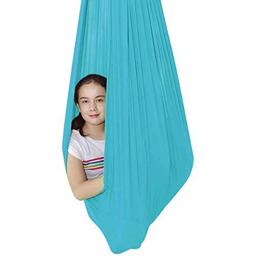 Columpio De Terapia De Interior para Niños con Más Necesidades Especiales Hamaca De Yoga Aérea Integración Sensorial Camping Al Aire Libre (Color : Lake Blue, Size : 150 * 280cm)