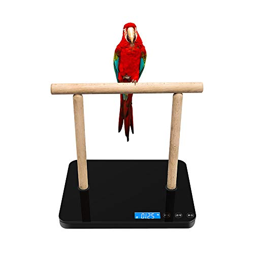 Parrot Weight Scale with Perch, Bird Scale Weight Capacity at 20Kg (1g) for Macaw and Cockatoo, Kg / Lb switchable
