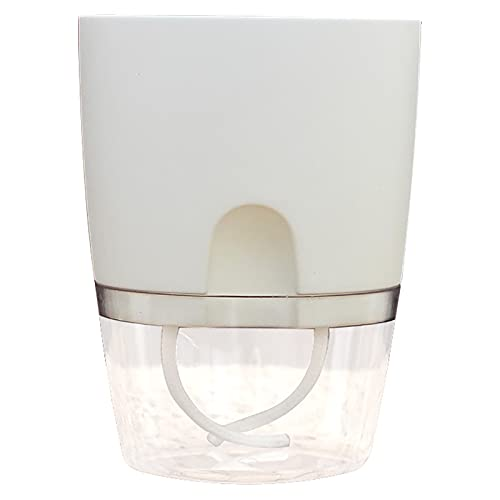 Pentole di fiori di plastica trasparenti, stoccaggio dell'acqua a doppio strato pigro pigro vasi di fiori ad assorbimento dell'acqua assorbente, ampio, adatto per tu White-L