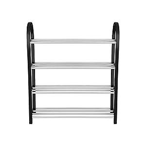 Hogar y Mas Mueble Zapatero 4 baldas de PVC/Aluminio Negro Dormitorio