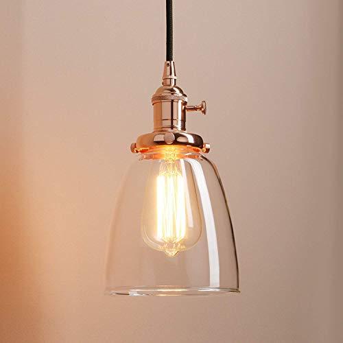 DEJ Industriële moderne vintage loft bar keuken plafond hanglamp armaturen cluster kroonluchter glazen lampenkap opknoping 3 lampen bevestiging voor Island salon eetzaal slaapmaker, koper